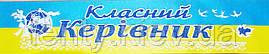 Класний керівник - стрічка атлас, глітер, обводка (укр.мова) ЖБ, Синий, Белый, Украинский