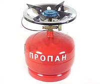 Газовый комплект Турист 5 л (плита с пропановым баллоном+переходник для заправки)