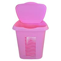 Корзина для белья с крышкой 40л Консенсус розовая