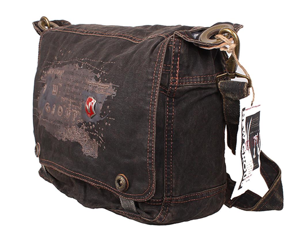Текстильная мужская сумка черного цвета 30809