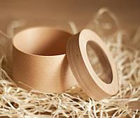 Эко упаковка круглая форма из дерева (шпона) форма с размерами 90*60мм с прозрачной крышкой