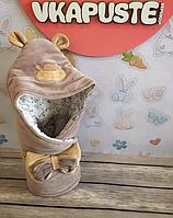 """Весенний конверт ― одеяло  на выписку """"Панда"""" (молочный шоколад) , фото 1"""
