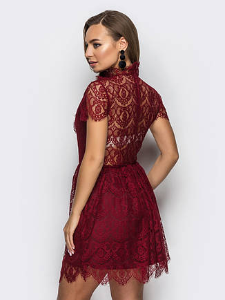 Мереживне жіноче плаття бордо 42-44, 44-46 , гіпюр, фото 2