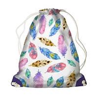 Детский рюкзак мешок для девочки с принтом Перо
