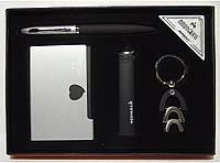 MTD-24 Мужской набор MOONGRASS: ручка + брелок + визитница + зажигалка, Подарочный набор, Сувенир мужчине