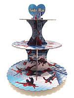 """Подставка , стойка  праздничная 3-х ярусная для кексов  """" Человек  паук """""""