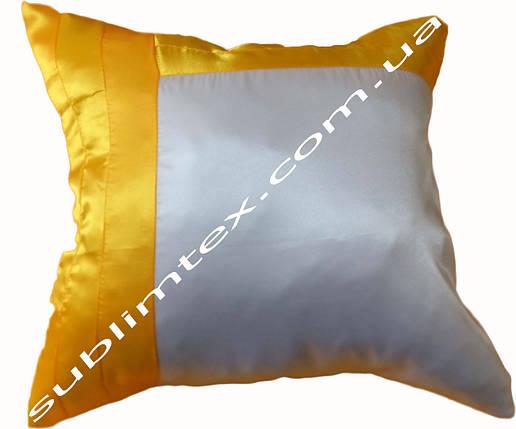 Подушка атласная,искусственный наполнитель, желтая сторона, подушка декоративная, размер 43х43см, фото 2