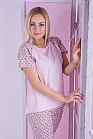 Стильная трикотажная пижама, костюм для дома из натурального хлопка