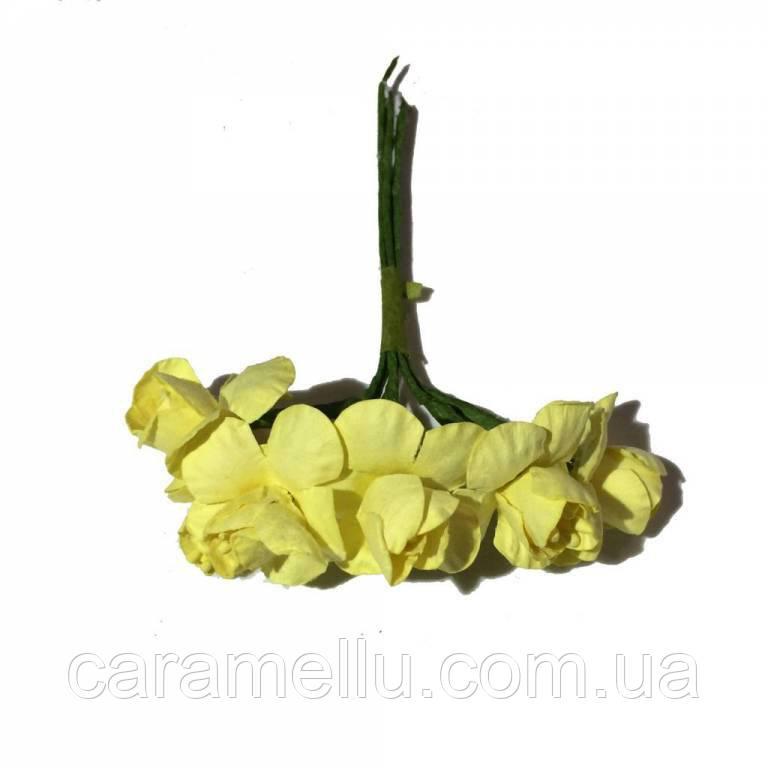 Весенник с тычинками (бумага) на проволоке 6 штук.  Цвет желтый