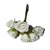 Розы сатин на проволоке 6 штук. Цвет белый