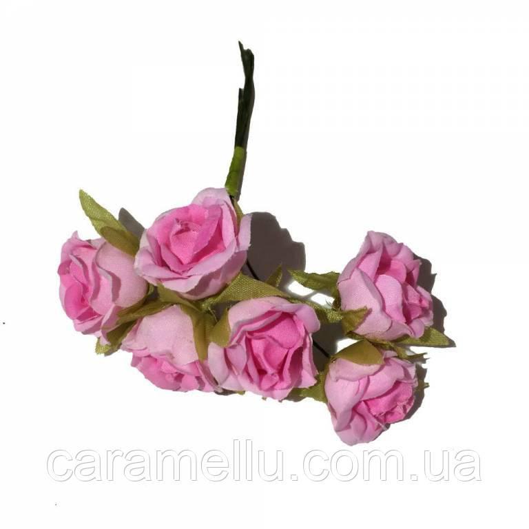 Розы сатин на проволоке 6 штук.  Цвет светло-розовый