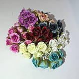 Розы сатин на проволоке 6 штук.  Цвет светло-розовый, фото 3