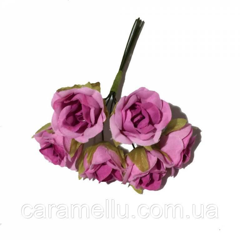 Розы сатин на проволоке 6 штук.  Цвет розовый