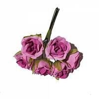 Розы сатин на проволоке 6 штук.  Цвет розовый, фото 1
