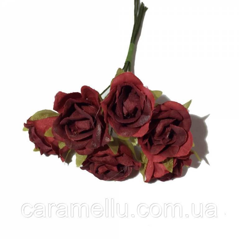 Розы сатин на проволоке 6 штук.  Цвет темно-красный