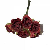 Розы сатин на проволоке 6 штук.  Цвет темно-красный, фото 1