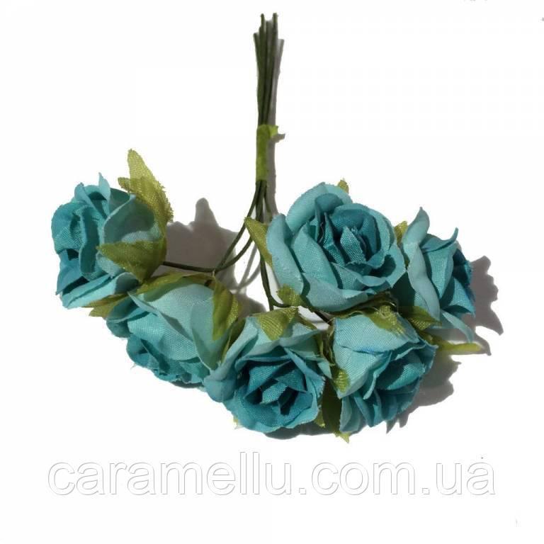Розы сатин на проволоке 6 штук.  Цвет голубой
