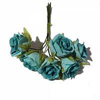 Розы сатин на проволоке 6 штук.  Цвет голубой, фото 1