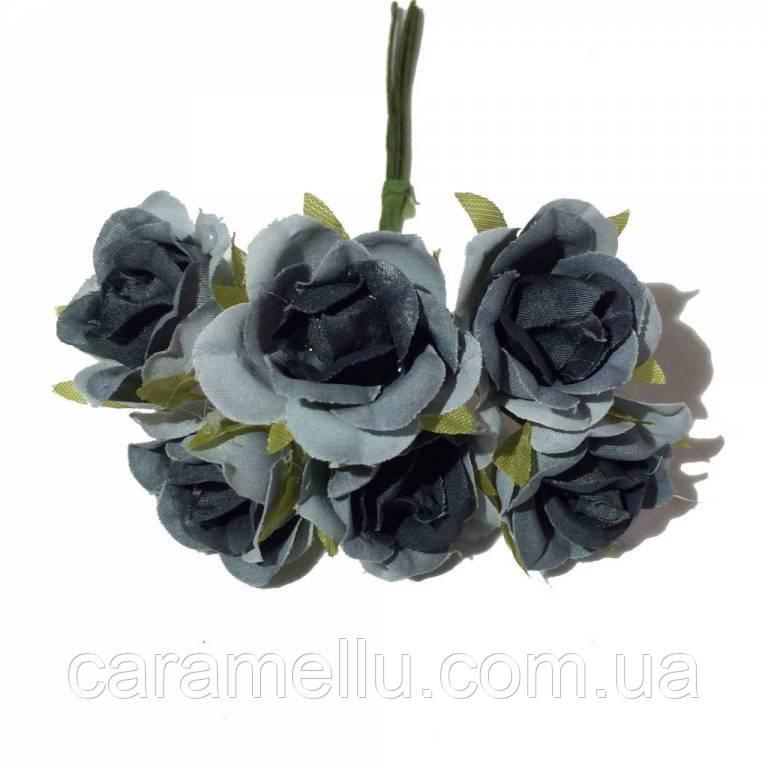 Розы сатин на проволоке 6 штук.  Цвет серый
