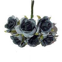 Розы сатин на проволоке 6 штук.  Цвет серый, фото 1