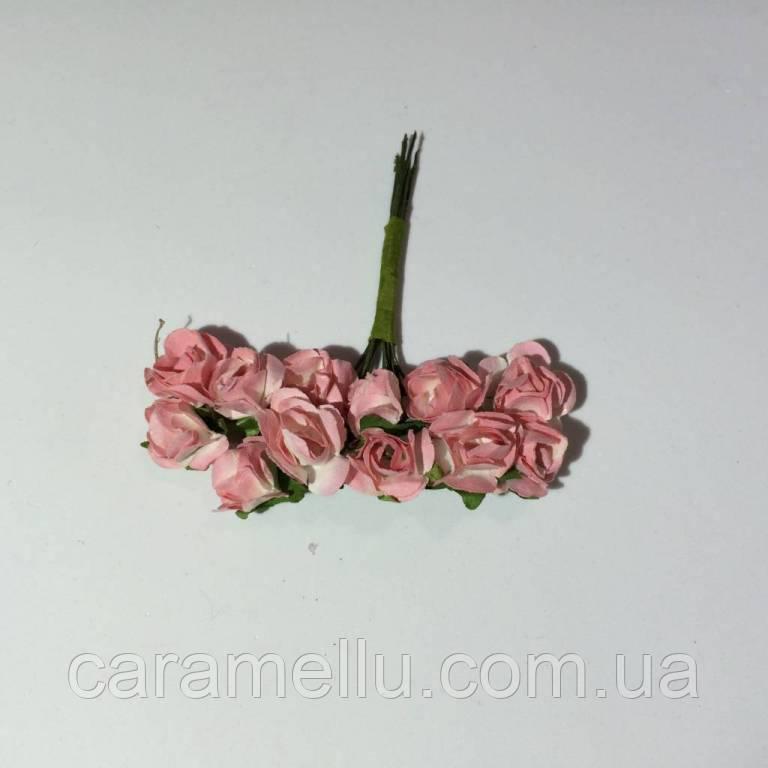 Розы бумажные на проволоке 12 штук.  Цвет светло-коралловый