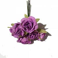 Розы сатин на проволоке 6 штук. Цвет сиреневый