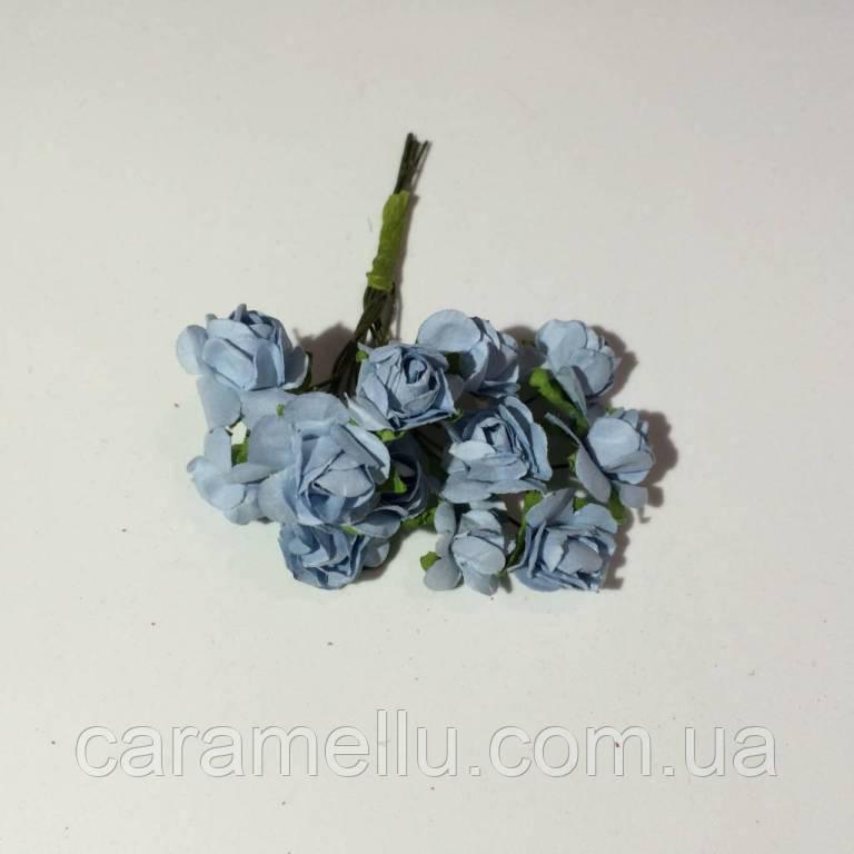 Розы бумажные на проволоке 12 штук.  Цвет голубой