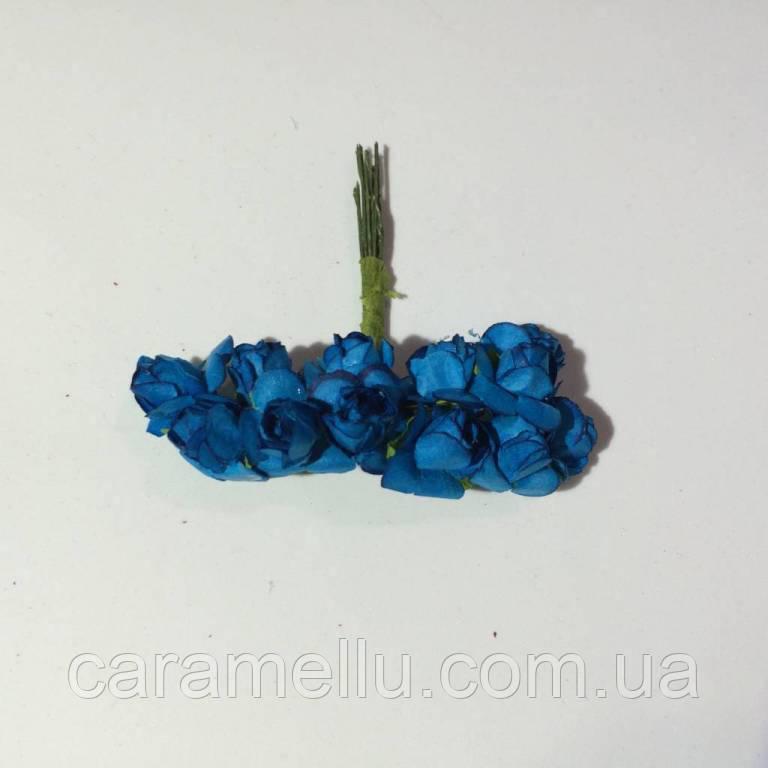 Розы бумажные на проволоке 12 штук.  Цвет синий