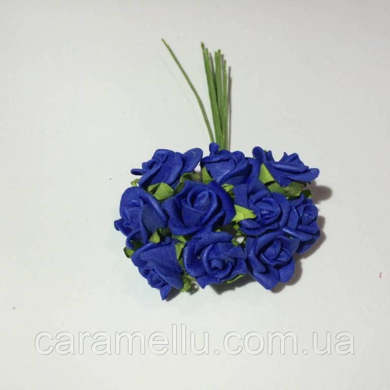 Розы кучерявые из фоамирана(латекса). 10 штук. Цвет синий