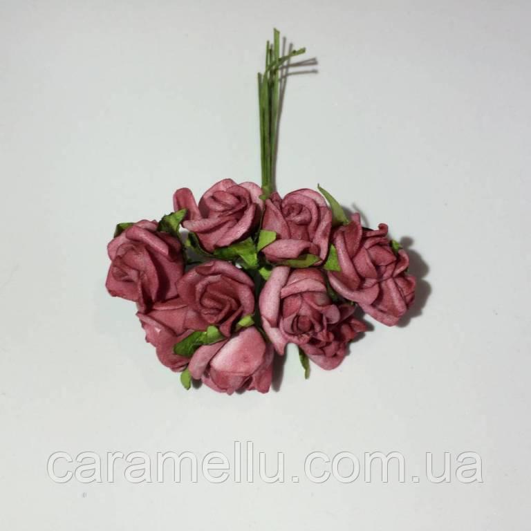 Розы кучерявые из фоамирана(латекса). 10 штук. Цвет бордовый