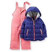 Комбинезон зимний для девочки розово-синий Carters