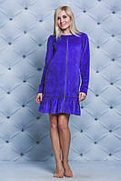 Халат женский велюровый на молнии фиолет, фото 1