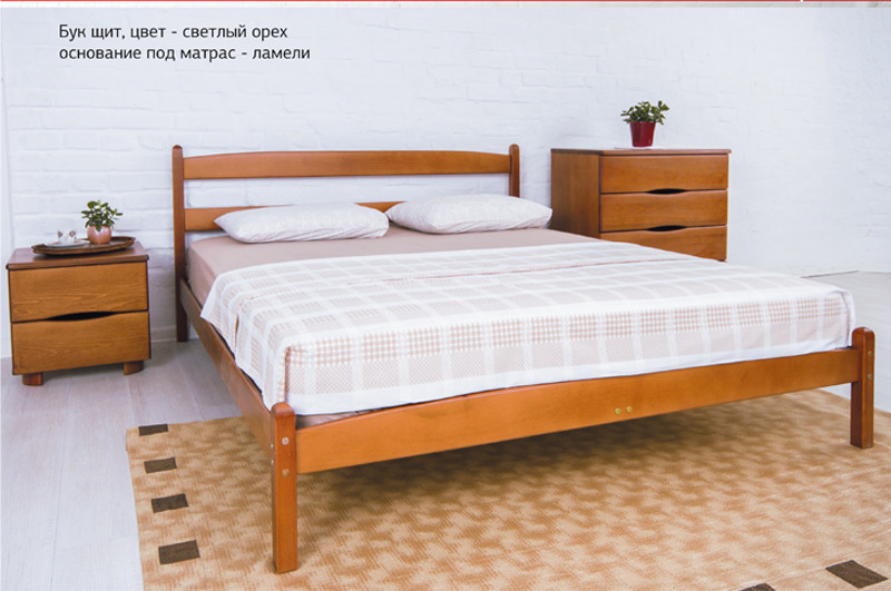 Кровать двуспальная деревянная  Ликерия без изножья Микс мебель, цвет на выбор