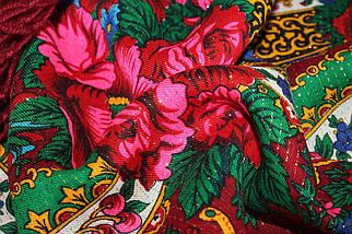 Справжня українська вовняна бордова хустка з люрексом  Чудові квіти, фото 3