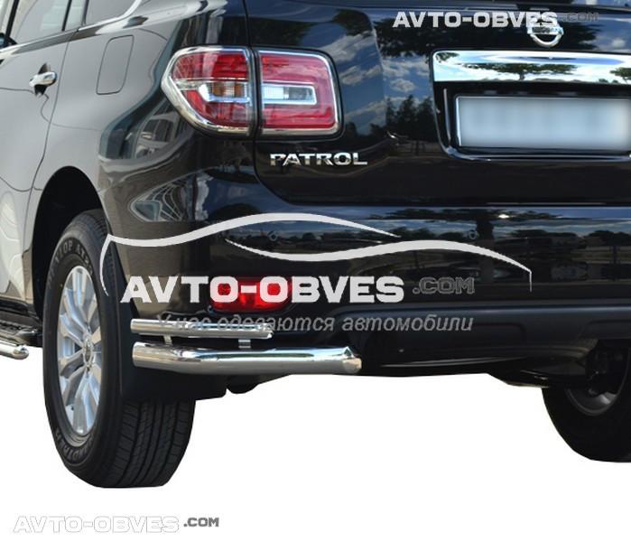 Защита заднего бампера для Nissan Patrol 2014-..., двойные углы (под заказ 5-7 дней)