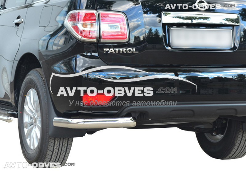 Защита заднего бампера для Nissan Patrol 2014-..., одинарные углы (под заказ 5-7 дней)