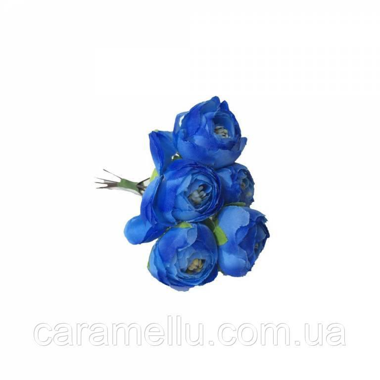Ранункулюсы. Цвет синий.  5 штук