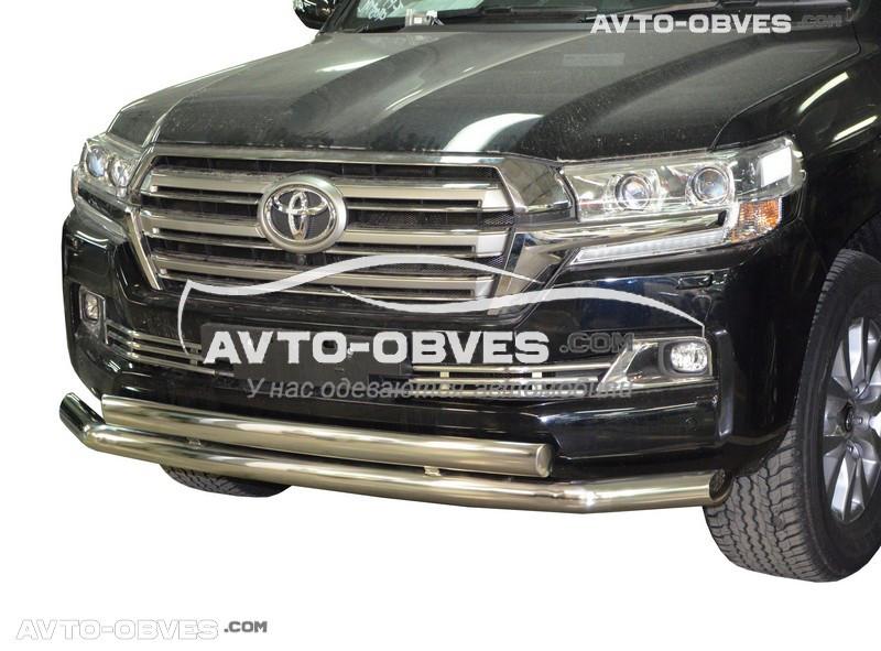 Дуга нижнего бампера двойная Toyota LC200 2016-… (верхняя труба овальная)