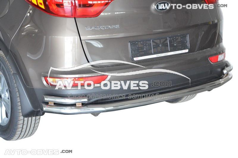 Защита заднего бампера для Kia Sportage IV прямой ус с дополнительными углами