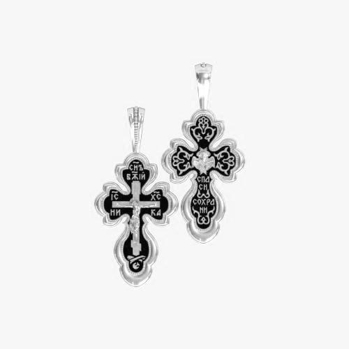 Нательный крест серебряный с распятием ВКр-17