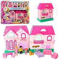 Кукольный домик, дом, мебель, семья, аксессуары, муз, свет, 16526A, 005993