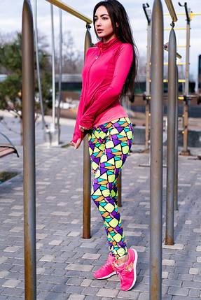 """Яркие стильные женские лосины """"Mosaic"""" с абстрактным принтом, фото 2"""