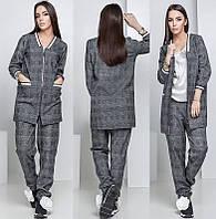 Женский брючный костюм в клетку с прямым пиджаком на двойной молнии, женские костюмы с брюками оптом