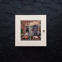 Ключница настенная из натурального дерева и керамики на 6 ключей. Подарки. Дом. Декор.