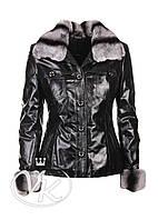Черная кожаная куртка с мехом, фото 1
