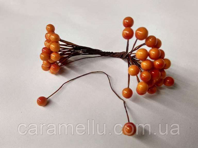 Ягоды на проволоке Глянцевые 50 ягод . Мелкие. Цвет оранжево-красный