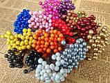 Ягоды на проволоке Глянцевые 50 ягод . Мелкие. Цвет оранжево-красный, фото 2