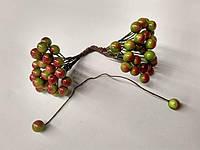 Ягоды на проволоке Глянцевые 50 ягод . Мелкие. Цвет зелено-красный