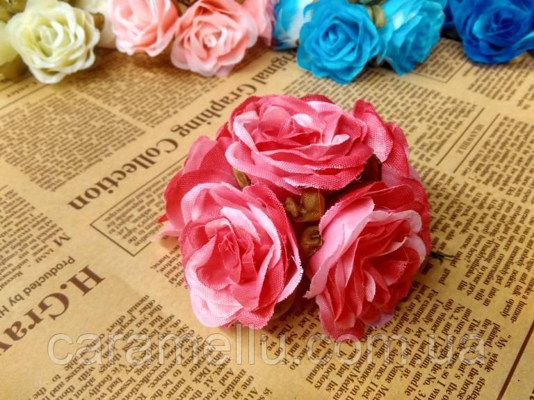 Роза крупная. Сатин. Букет 6 штук. Цвет малиновый.