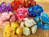 Роза крупная. Сатин. Букет 6 штук. Цвет малиновый., фото 2